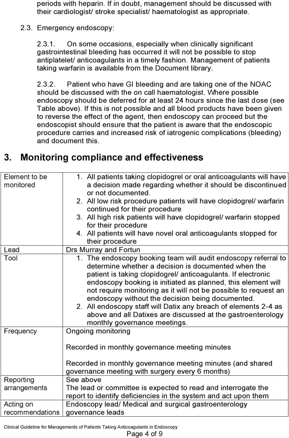 Management of patients taking warfarin is available from the Document library. 2.3.2. Patient who have GI bleeding and are taking one of the NOAC should be discussed with the on call haematologist.