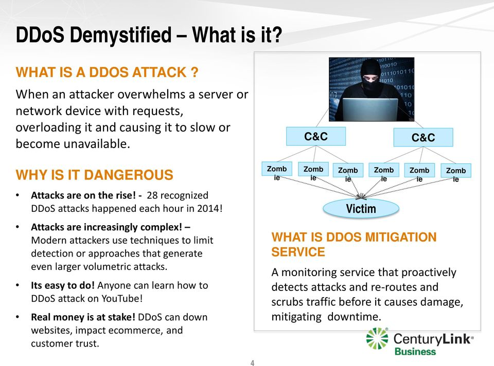 Modern attackers use techniques to limit detection or approaches that generate even larger volumetric attacks. Its easy to do! Anyone can learn how to DDoS attack on YouTube! Real money is at stake!