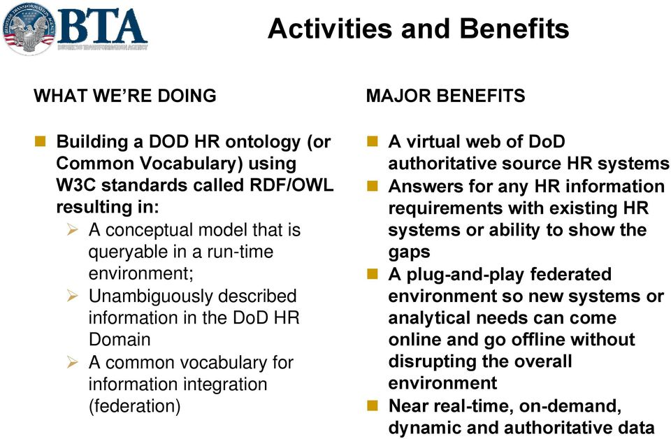 A virtual web of DoD authoritative source HR systems Answers for any HR information requirements with existing HR systems or ability to show the gaps A plug-and-play