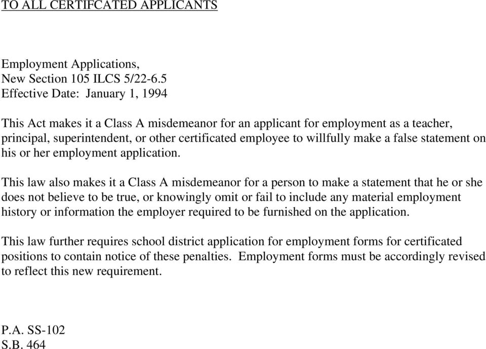false statement on his or her employment application.