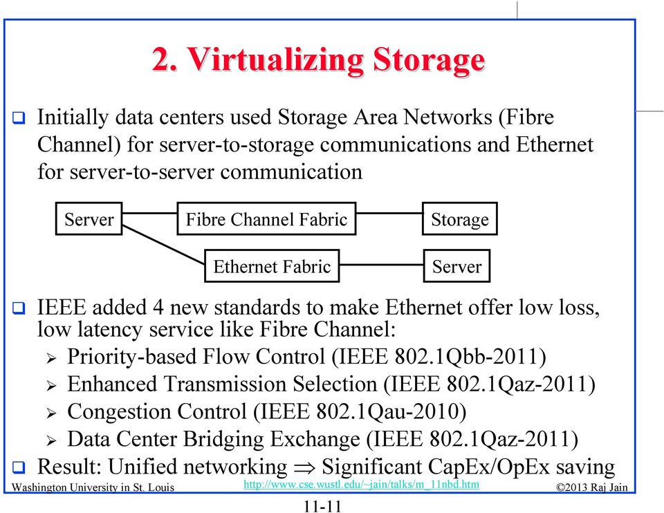 loss, low latency service like Fibre Channel: Priority-based Flow Control (IEEE 802.1Qbb-2011) Enhanced Transmission Selection (IEEE 802.