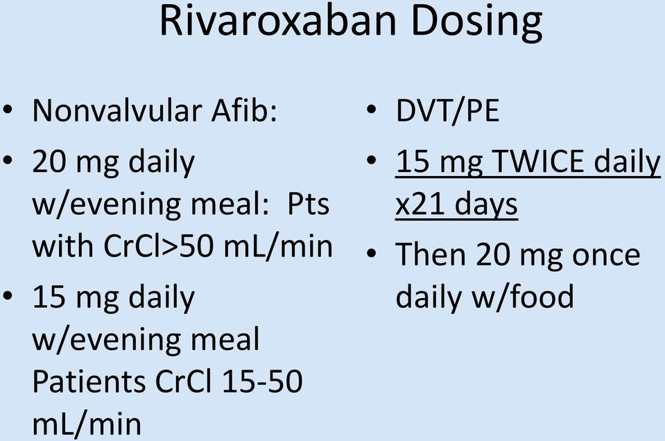 w/evening meal Patients CrCl 15-50 ml/min DVT/PE 15