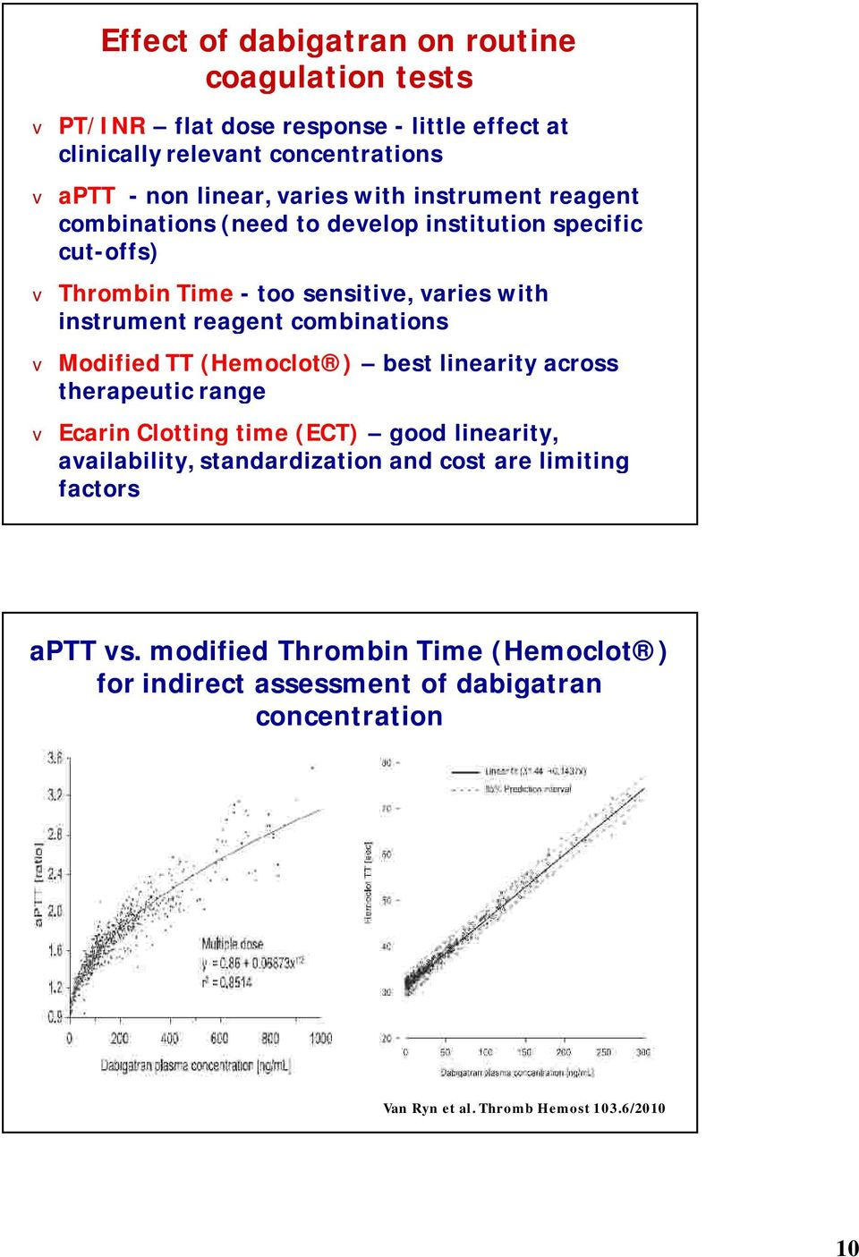 combinations Modified TT (Hemoclot ) best linearity across therapeutic range Ecarin Clotting time (ECT) good linearity, aailability, standardization and