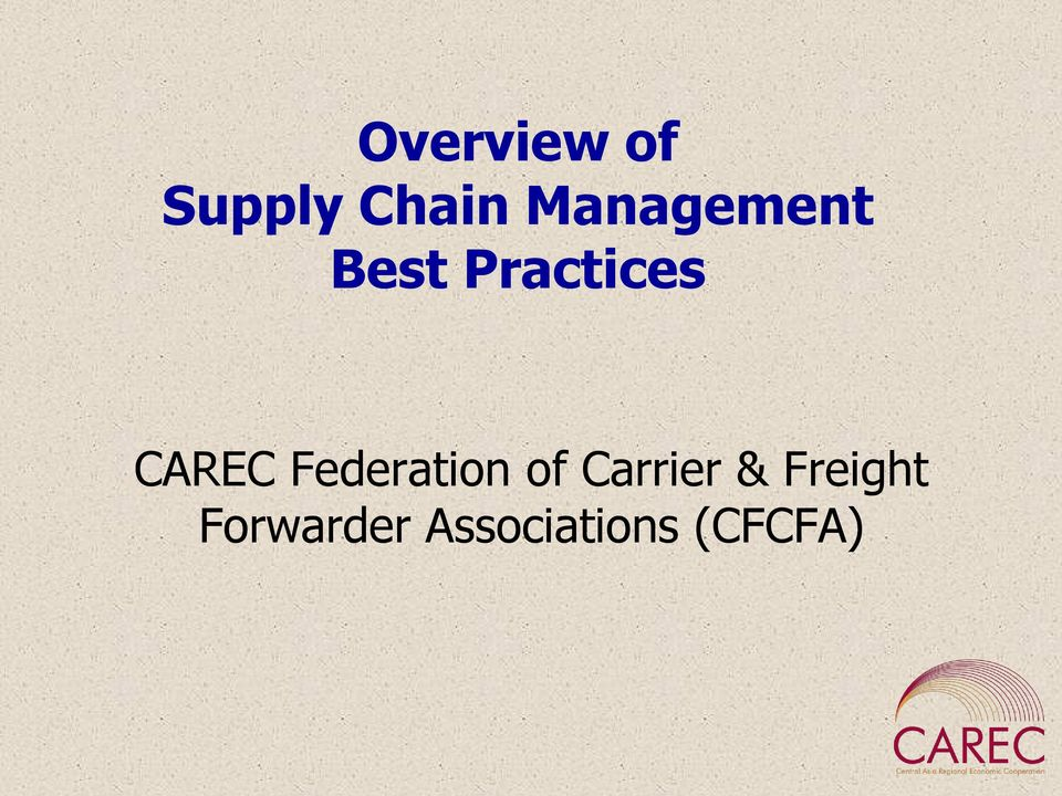 CAREC Federation of Carrier &