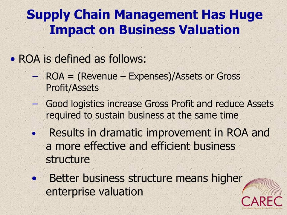 Assets required to sustain business at the same time Results in dramatic improvement in ROA and a
