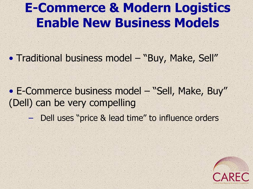 E-Commerce business model Sell, Make, Buy (Dell) can