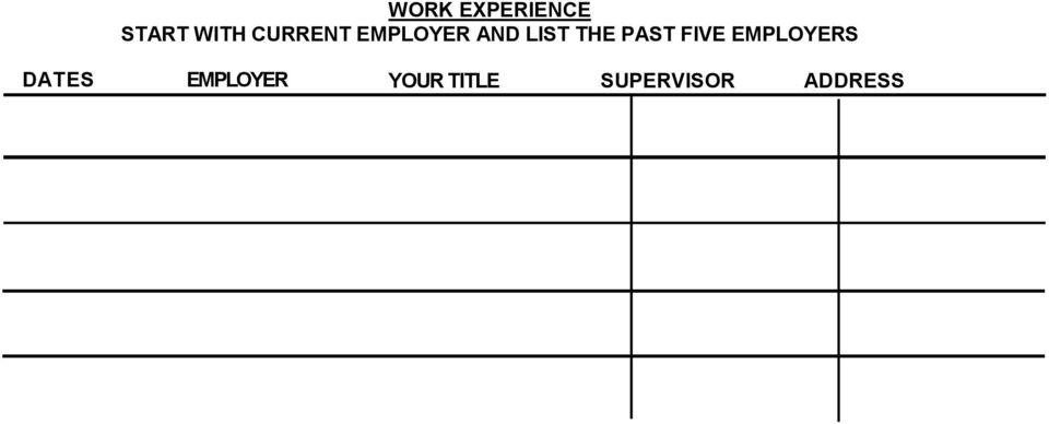 PAST FIVE EMPLOYERS DATES