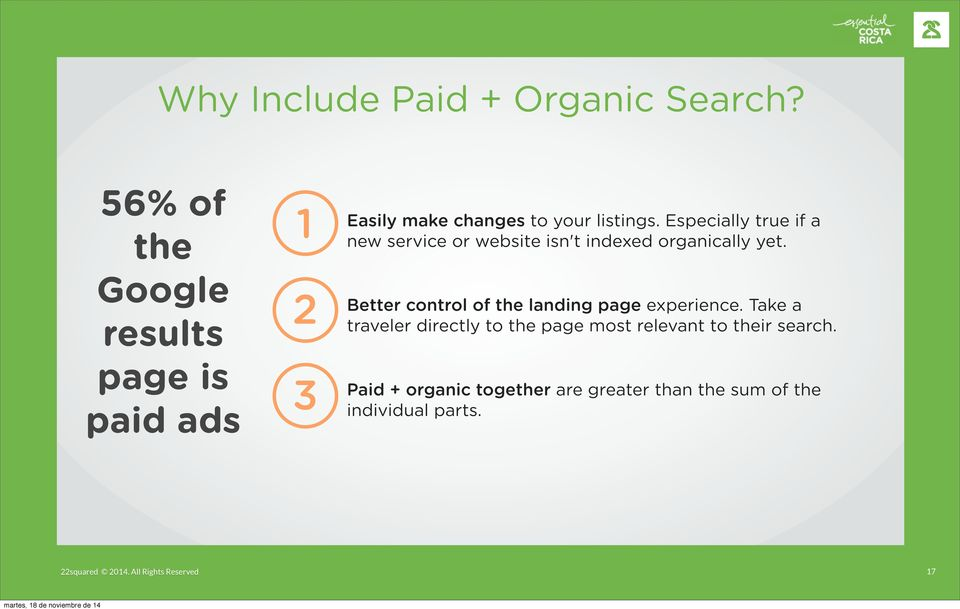 Google results 2 Better control of the landing page experience.