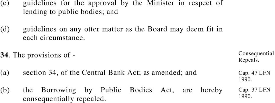 The provisions of - section 34, of the Central Bank Act; as amended; and the Borrowing by