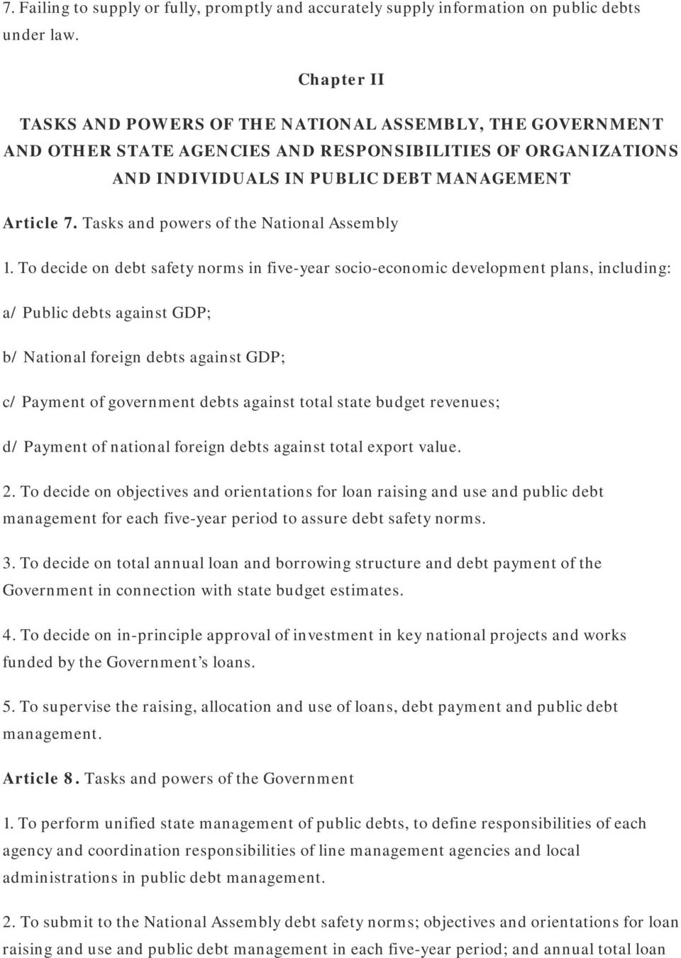 Tasks and powers of the National Assembly 1.