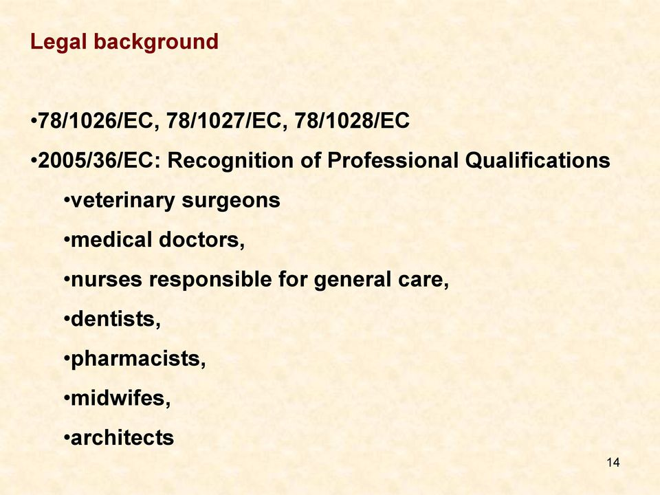 veterinary surgeons medical doctors, nurses responsible