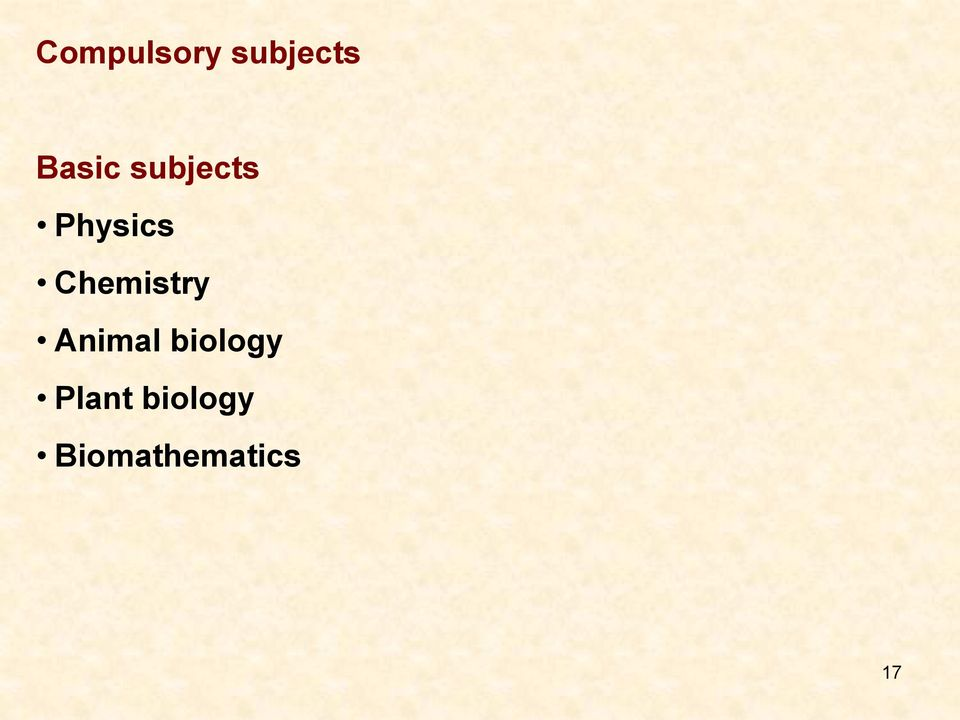 Chemistry Animal biology