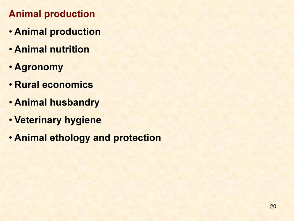 economics Animal husbandry