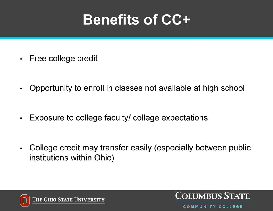 college faculty/ college expectations College credit may