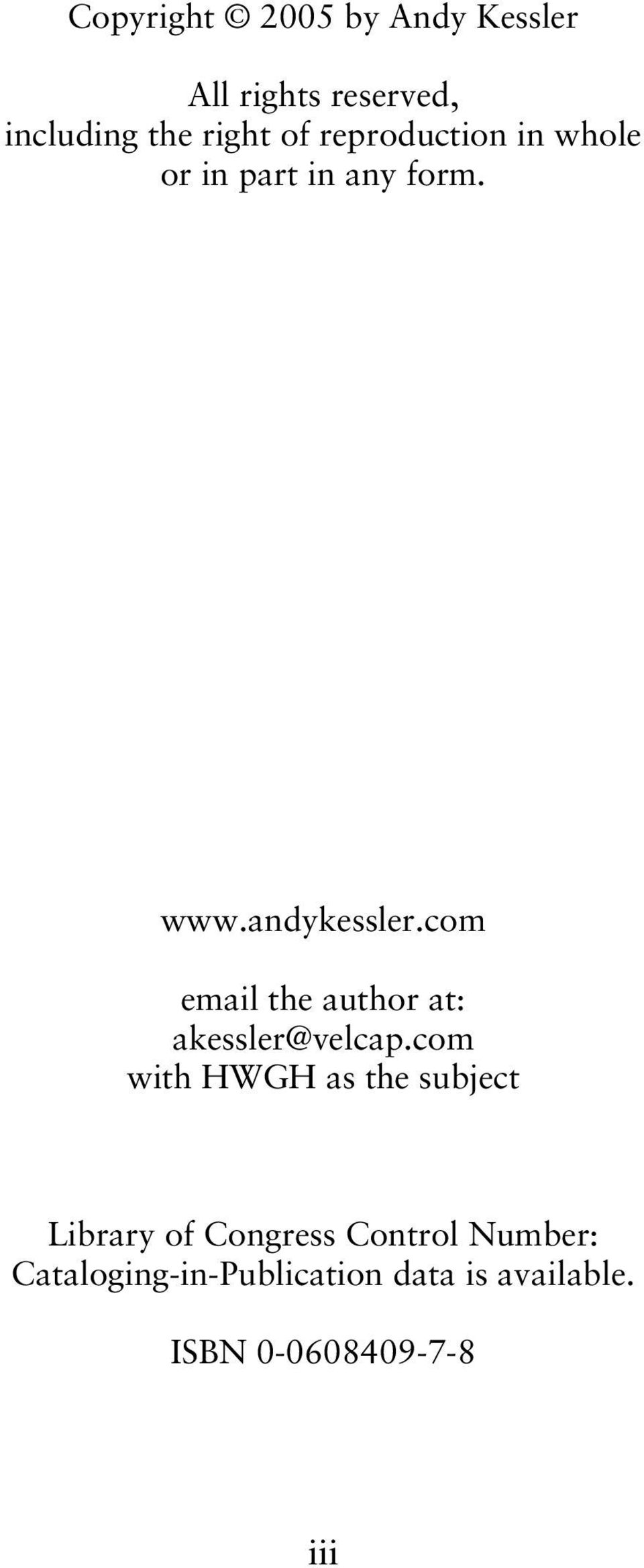 com email the author at: akessler@velcap.