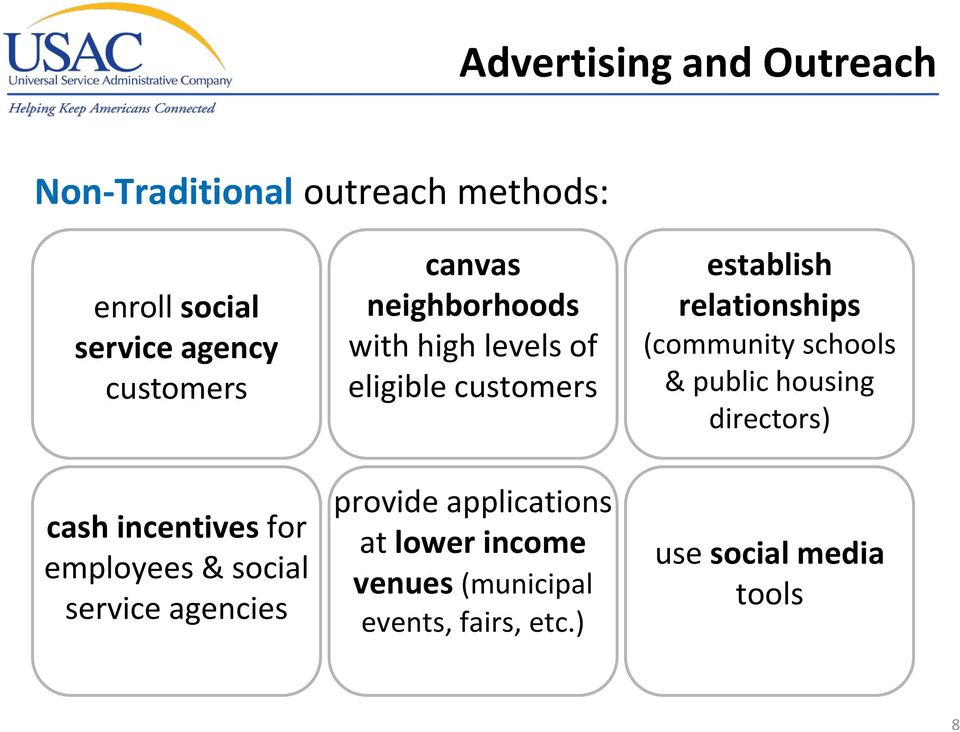 levels of eligible customers provide applications at lower income venues (municipal events,