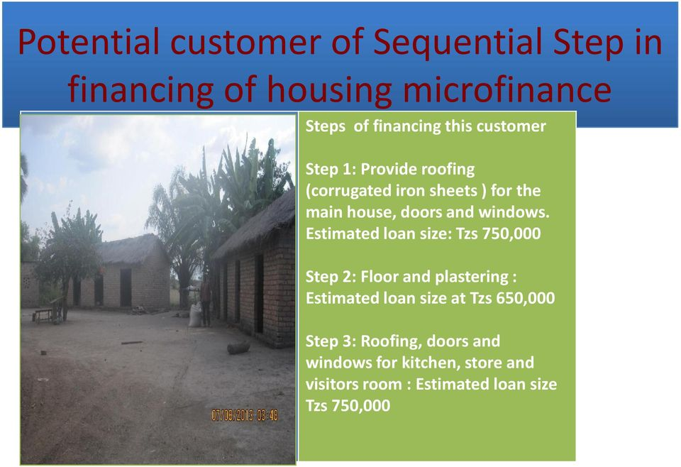 Estimated loan size: Tzs 750,000 Step 2: Floor and plastering : Estimated loan size at Tzs 650,000