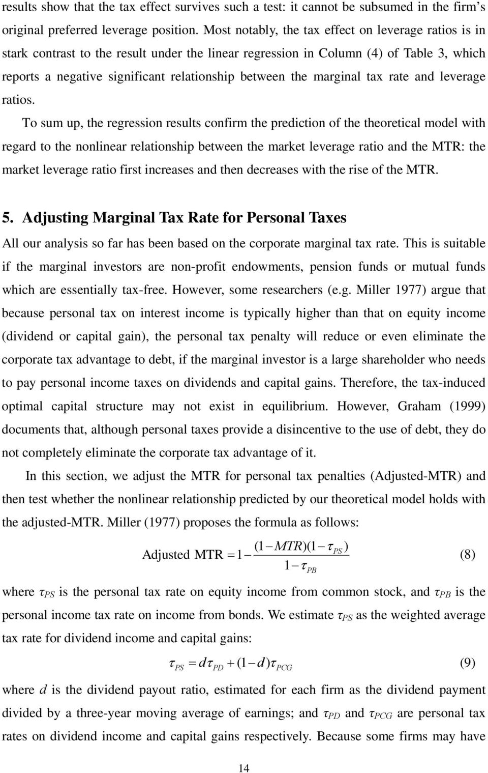 marginal tax rate and leverage ratios.