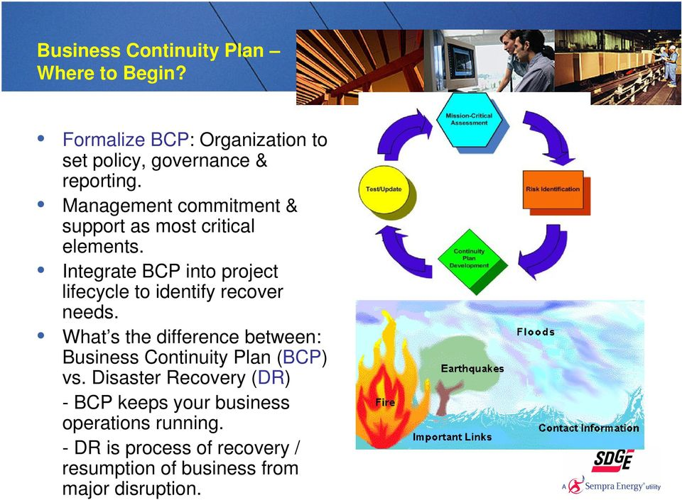 Integrate BCP into project lifecycle to identify recover needs.
