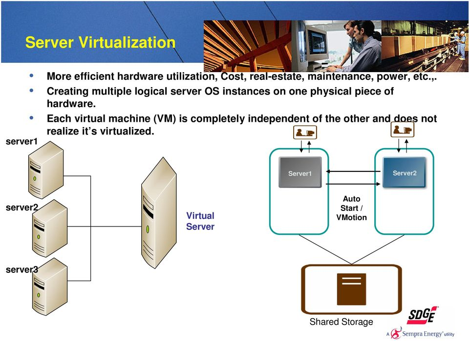 Each virtual machine (VM) is completely independent of the other and does not realize it s