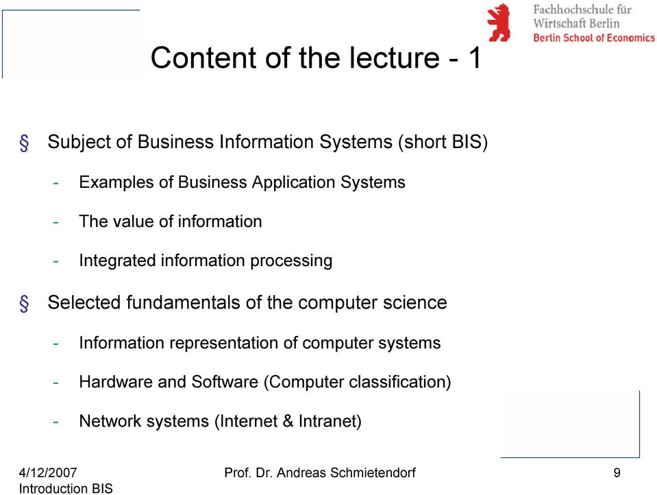 fundamentals of the computer science - Information representation of computer systems - Hardware and