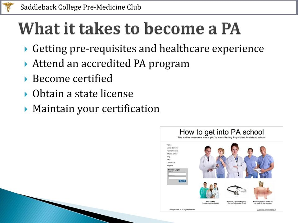accredited PA program Become