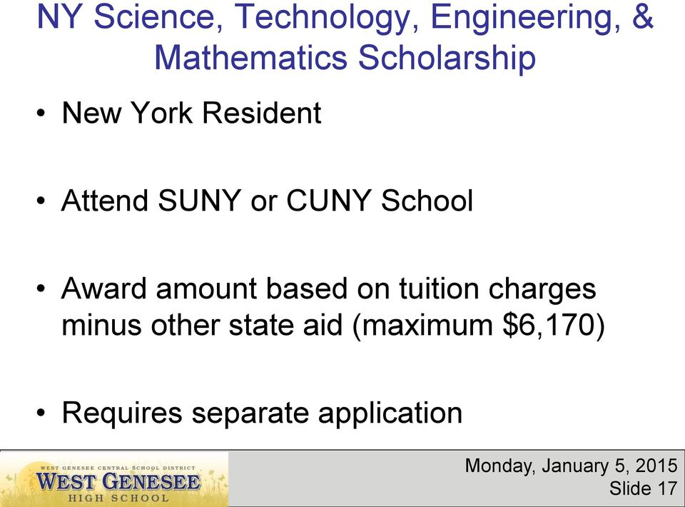 School Award amount based on tuition charges minus