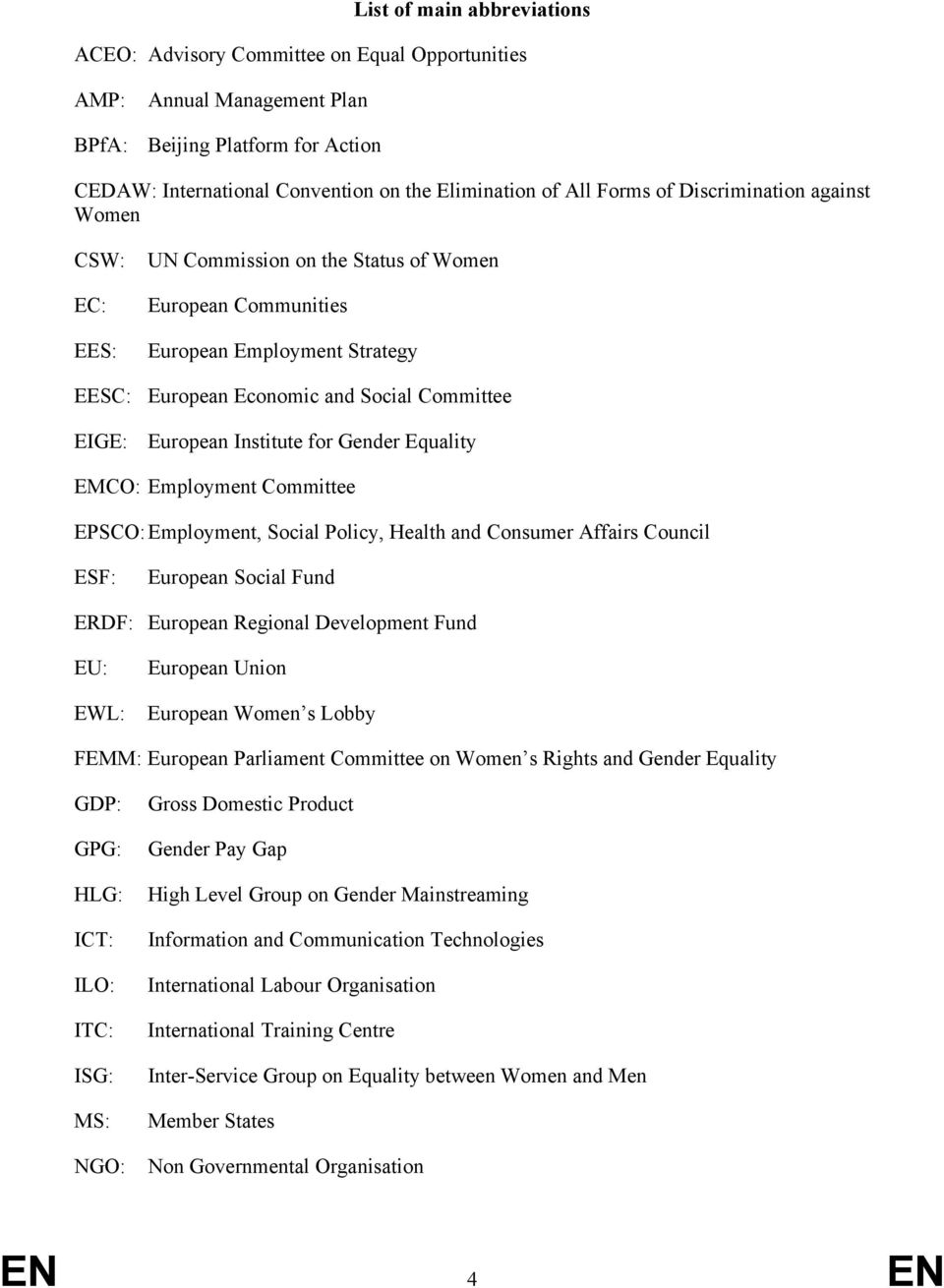 Institute for Gender Equality EMCO: Employment Committee EPSCO: Employment, Social Policy, Health and Consumer Affairs Council ESF: European Social Fund ERDF: European Regional Development Fund EU: