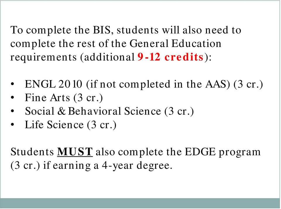 the AAS) (3 cr.) Fine Arts (3 cr.) Social & Behavioral Science (3 cr.