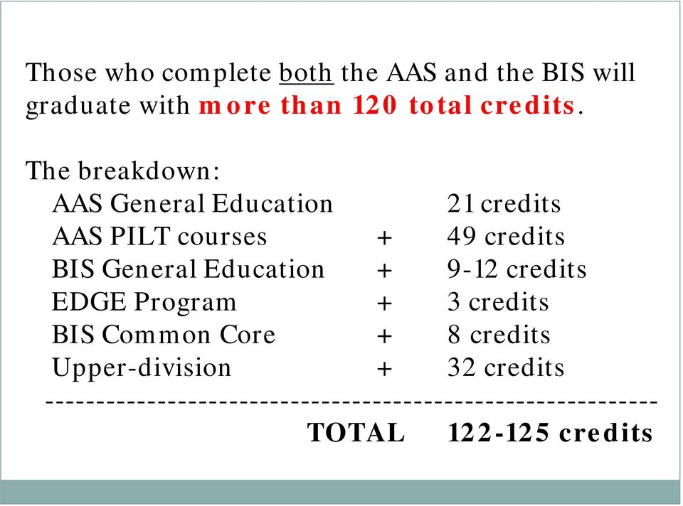 Education + 9-12 credits EDGE Program + 3 credits BIS Common Core + 8 credits Upper-division