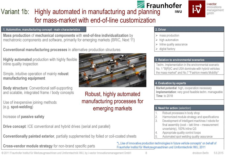 markets (BRIC, Next 11) Conventional manufacturing processes in alternative production structures Highly automated production with highly flexible inline quality inspection Simple, intuitive