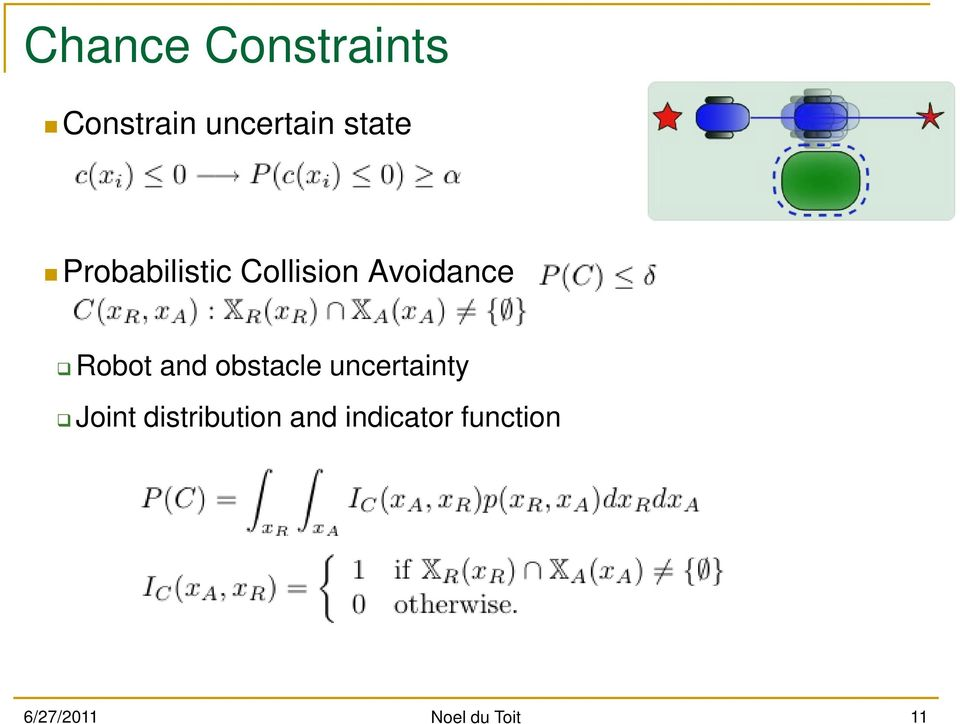 obstacle uncertainty Joint distribution and