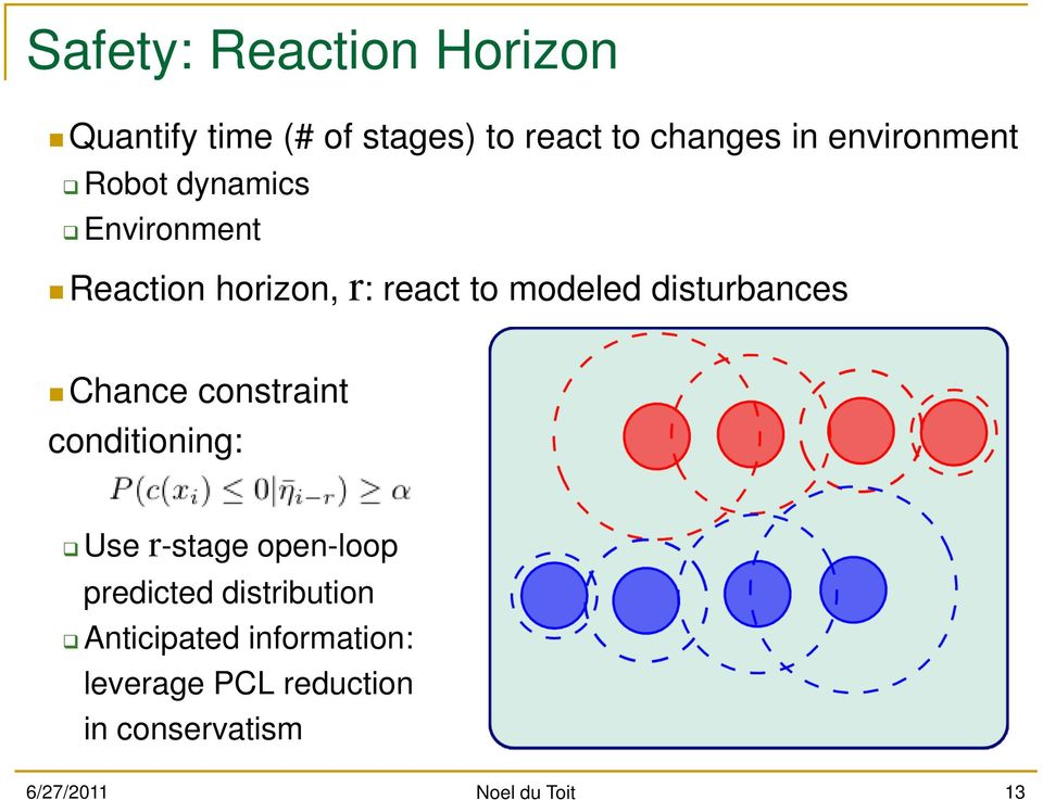 disturbances Chance constraint conditioning: Use r-stage open-loop predicted