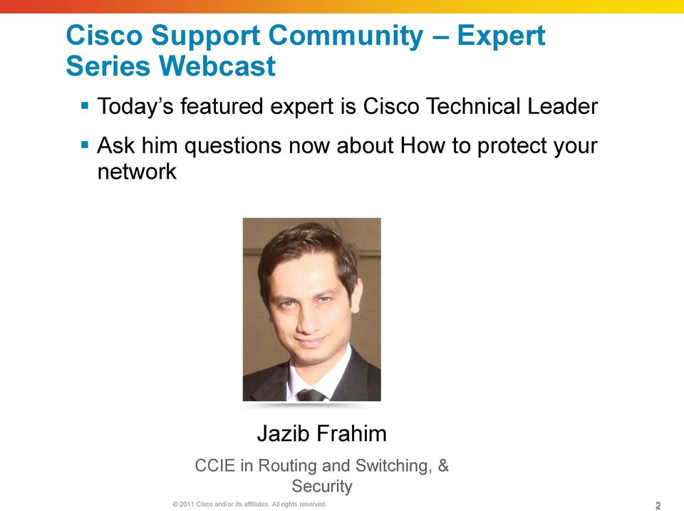 to protect your network Jazib Frahim CCIE in Routing and