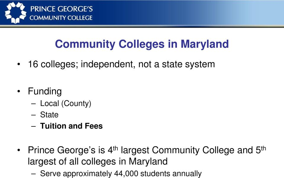 George s is 4 th largest Community College and 5 th largest of