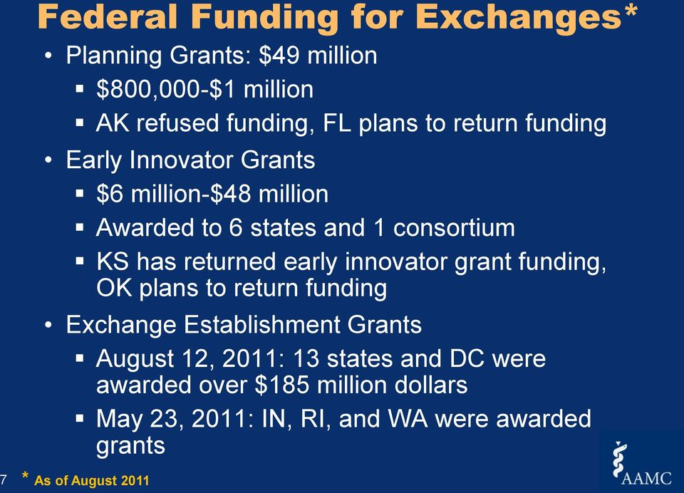 early innovator grant funding, OK plans to return funding Exchange Establishment Grants August 12, 2011: 13 states