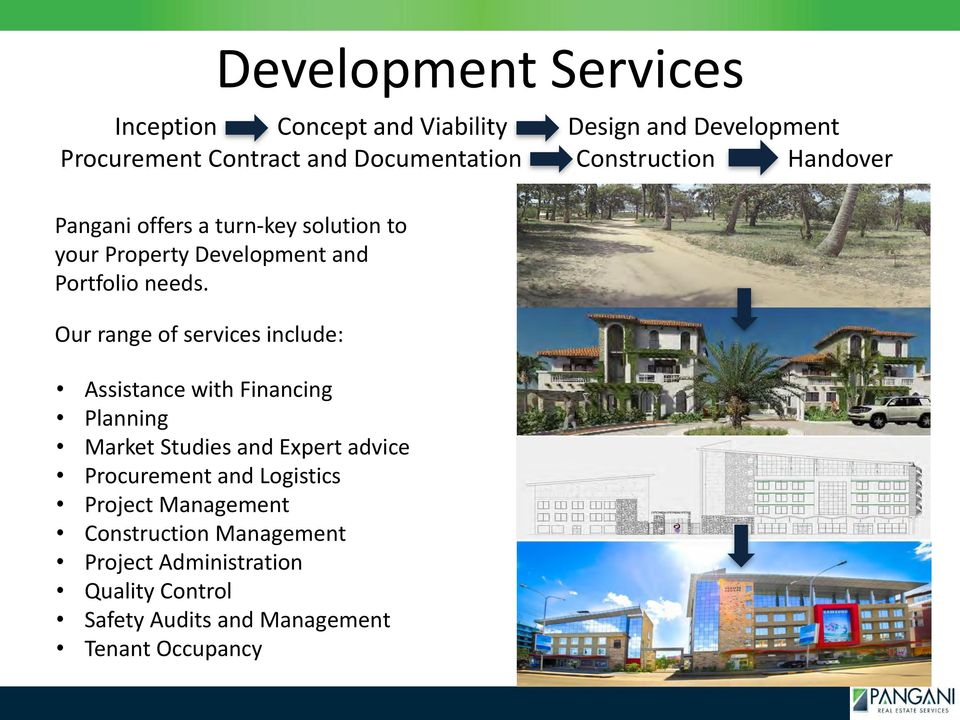 Our range of services include: Development Services Assistance with Financing Planning Market Studies and Expert