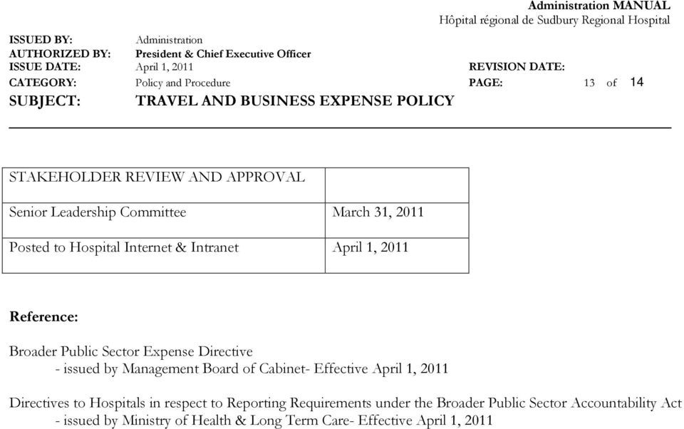 by Management Board of Cabinet- Effective April 1, 2011 Directives to Hospitals in respect to Reporting Requirements