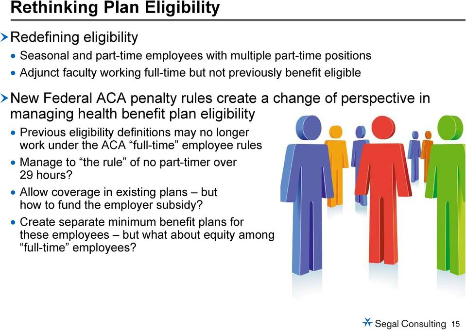 eligibility definitions may no longer work under the ACA full-time employee rules Manage to the rule of no part-timer over 29 hours?