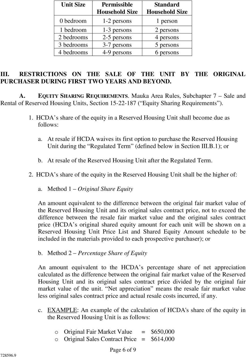 Mauka Area Rules, Subchapter 7 Sale and Rental of Reserved Housing Units, Section 15-22-187 ( Equity Sharing Requirements ). 1. HCDA s share of the equity in a Reserved Housing Unit shall become due as follows: a.