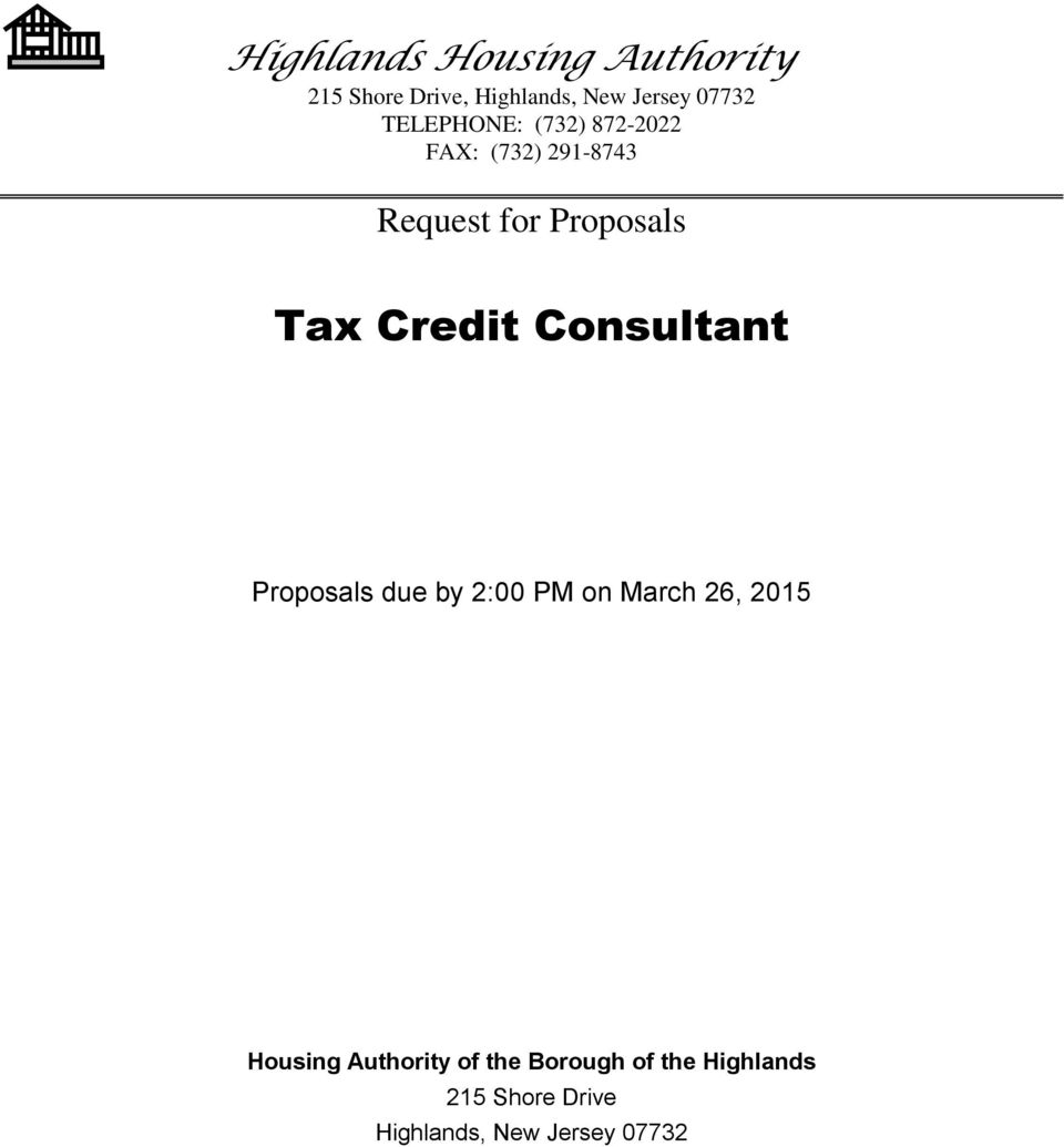 Credit Consultant Proposals due by 2:00 PM on March 26, 2015 Housing