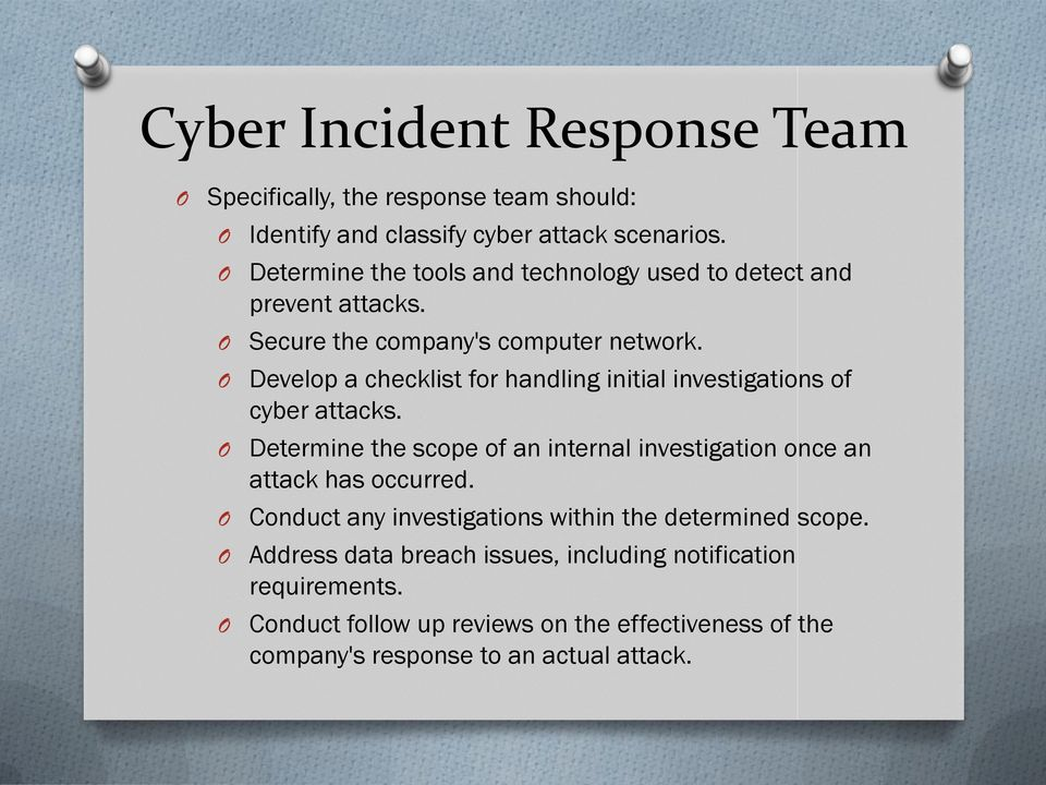 Develop a checklist for handling initial investigations of cyber attacks.