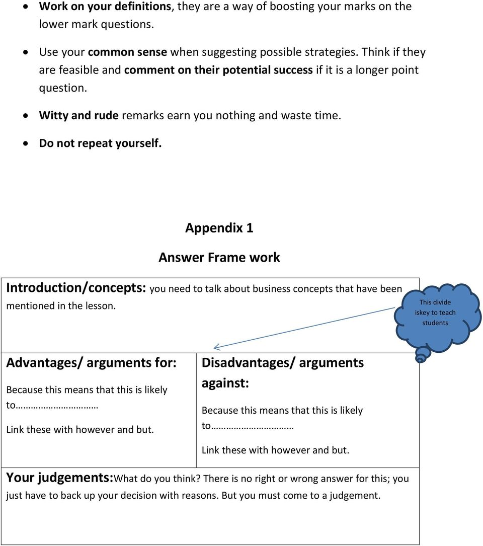 Appendix 1 Answer Frame work Introduction/concepts: you need to talk about business concepts that have been mentioned in the lesson.