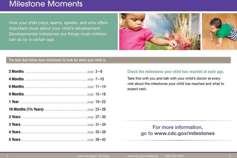 .. page 15 18 Check the milestones your child has reached at each age.