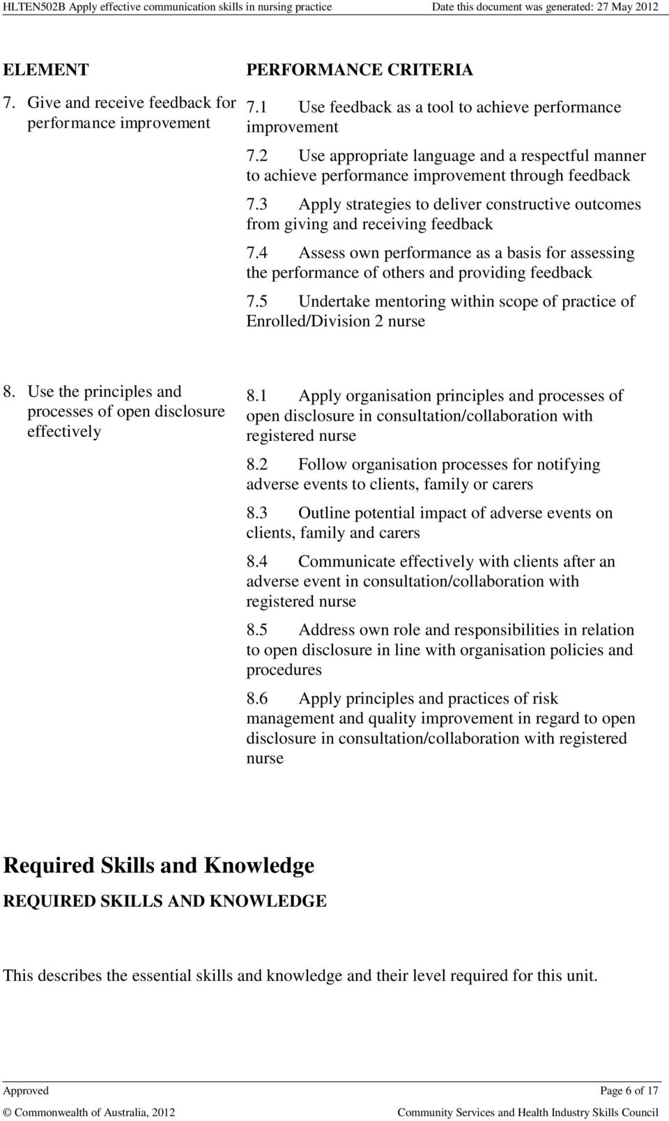4 Assess own performance as a basis for assessing the performance of others and providing feedback 7.5 Undertake mentoring within scope of practice of Enrolled/Division 2 nurse 8.