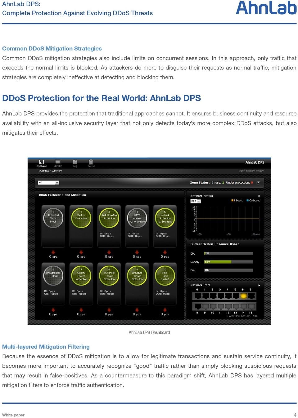 DDoS Protection for the Real World: AhnLab DPS AhnLab DPS provides the protection that traditional approaches cannot.