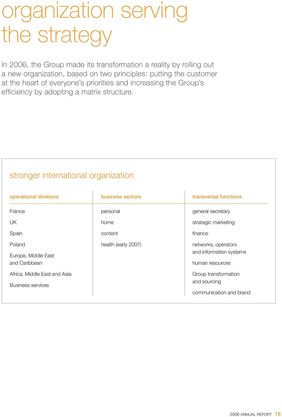 stronger international organization operational divisions business sectors transversal functions France UK Spain Poland Europe, Middle East and Caribbean Africa, Middle East