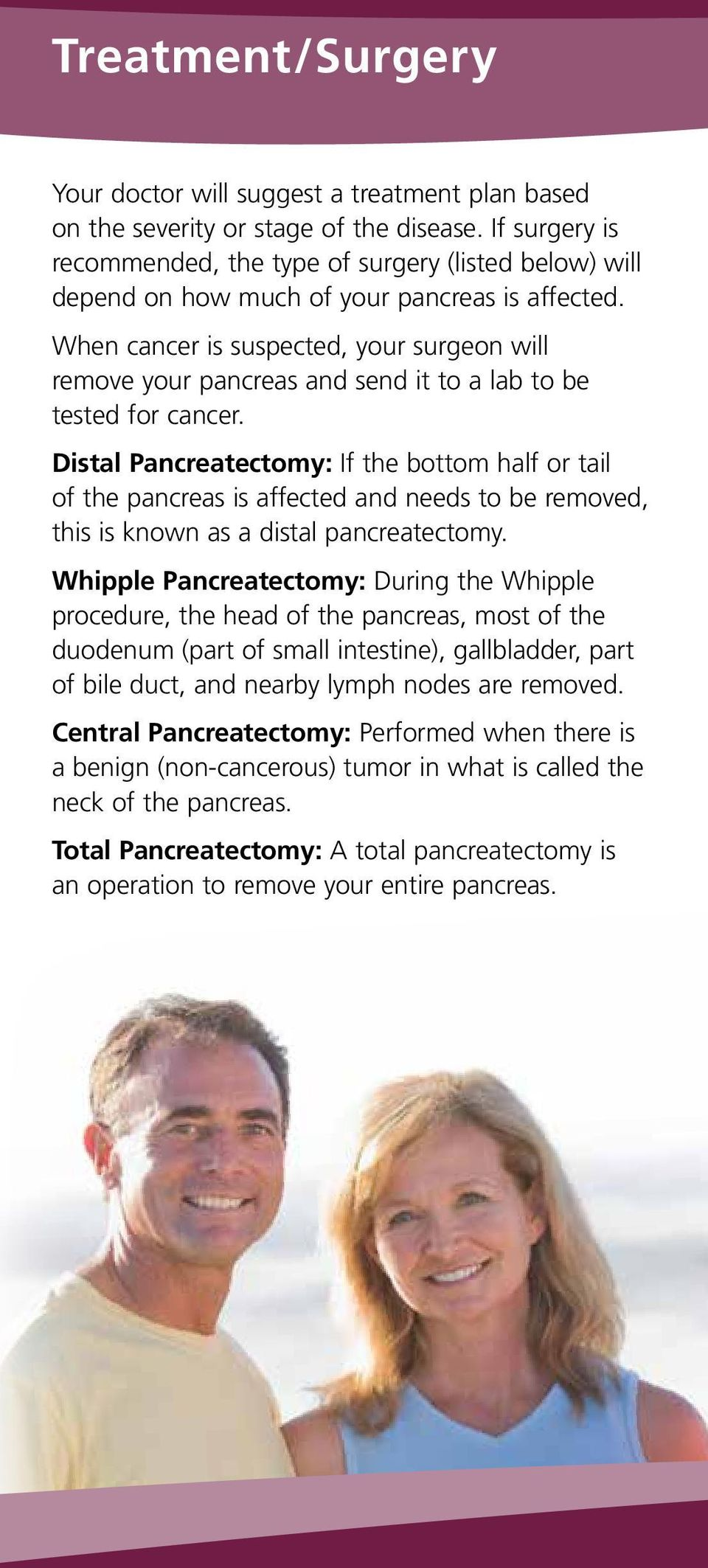 When cancer is suspected, your surgeon will remove your pancreas and send it to a lab to be tested for cancer.