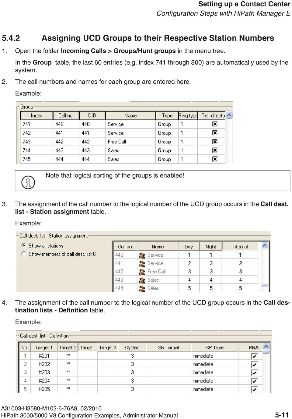 Example: Note that logical sorting of the groups is enabled! 3. The assignment of the call number to the logical number of the UCD group occurs in the Call dest. list - Station assignment table.