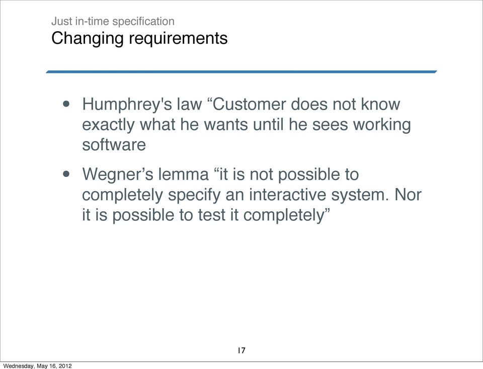 working software Wegner's lemma it is not possible to completely